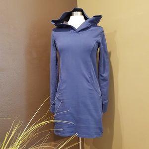 HORNY TOAD Blue Hood Long Sleeve Sweatshirt Dress